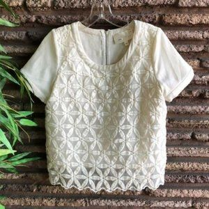 Ivory Embroidered Floral JOA Los Angeles Top